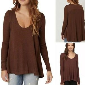 Free People Brown Long Sleeve Tunic w/ Thumb Holes